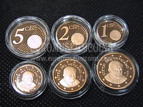 2010 Vaticano 1 + 2 + 5 eurocent proof da set ufficiale