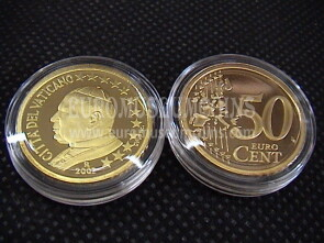 2002 Vaticano eurocent 50 proof da set ufficiale