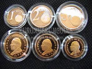 2002 Vaticano 1 + 2 + 5 eurocent proof da set ufficiale