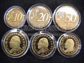 2003 Vaticano 10 + 20 + 50 eurocent proof da set ufficiale
