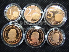 2003 Vaticano 1 + 2 + 5 eurocent proof da set ufficiale