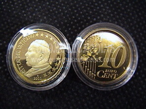 2003 Vaticano eurocent 10 proof da set ufficiale