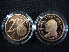 2003 Vaticano eurocent 2 proof da set ufficiale