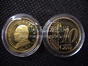 2004 Vaticano eurocent 10 proof da set ufficiale