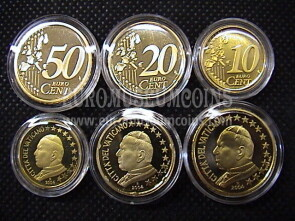 2004 Vaticano 10 + 20 + 50 eurocent proof da set ufficiale