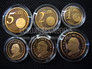 2004 Vaticano 1 + 2 + 5 eurocent proof da set ufficiale
