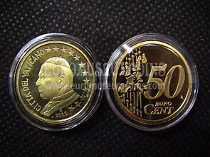 2005 Vaticano eurocent 50 proof da set ufficiale