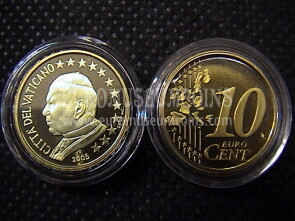 2005 Vaticano eurocent 10 proof da set ufficiale