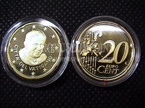 2006 Vaticano eurocent 20 proof da set ufficiale