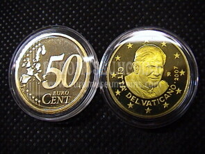 2007 Vaticano eurocent 50 proof da set ufficiale
