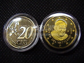 2007 Vaticano eurocent 20 proof da set ufficiale