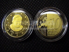 2008 Vaticano eurocent 10 proof da set ufficiale