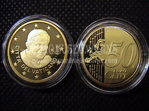 2010 Vaticano eurocent 50 proof da set ufficiale