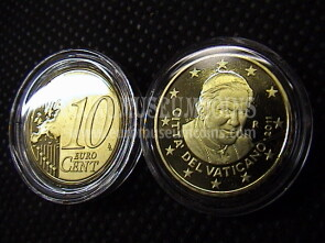 2011 Vaticano eurocent 10 proof da set ufficiale