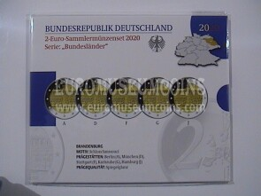 Germania 2020 Castello di Sanssouci 5 zecche 2 Euro commemorativi proof ADFGJ in folder ufficiale