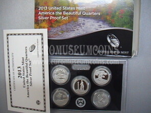 2013 USA America Quarters silver proof set Parchi in argento