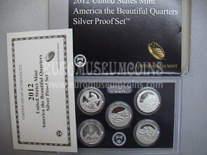 2012 USA America Quarters silver proof set Parchi in argento