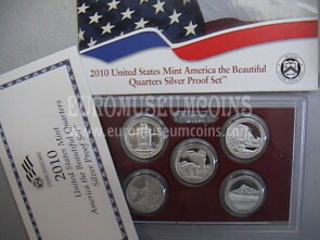 2010 USA America Quarters silver proof set Parchi in argento
