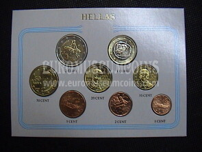 2002 Grecia serie completa 8 monete euro in blister Eurocollection