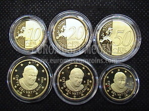 2012 Vaticano 10 + 20 + 50 eurocent proof da set ufficiale