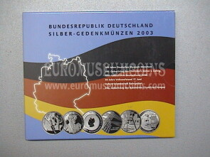 2003 Germania 10 Euro Proof in argento serie ufficiale