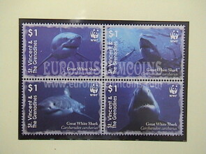 2006 St.Vincent & The Grenadines serie WWF Squalo Bianco 4 valori