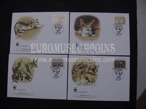 2008 Libia serie WWF Volpe di Ruppell 4 Buste FDC