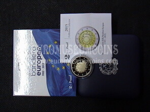 Italia 2015 BANDIERA EUROPEA 2 Euro commemorativo proof in cofanetto