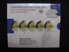 Germania 2010  Bremen 5 zecche 2 Euro commemorativi Proof