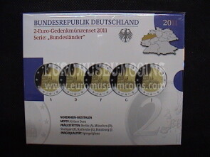 Germania 2011 Duomo di Colonia 5 zecche 2 Euro commemorativi Proof