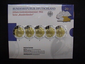 Germania 2012 Castello Neuschwanstein 5 zecche 2 Euro commemorativi Proof