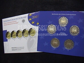 Germania 2007 Trattati di Roma 5 zecche 2 Euro commemorativi Proof