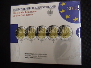 Germania 2012 Decennale TYE 5 zecche 2 Euro commemorativi Proof