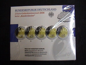 Germania 2008 Cattedrale di Amburgo 5 zecche 2 Euro commemorativi Proof