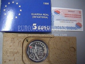 1998 Spagna 5 Euro in argento FDC Guardia Real ( Infanteria )