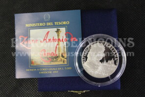 1997 Italia 5000 Lire PROOF Canaletto in argento con cofanetto