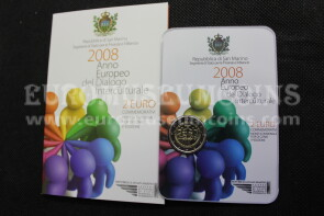2008 DIALOGO INTERCULTURALE 2 euro commemorativo SAN MARINO in folder ufficiale