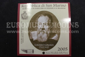 San Marino 2005 Galileo Galilei 2 euro commemorativo in folder ufficiale