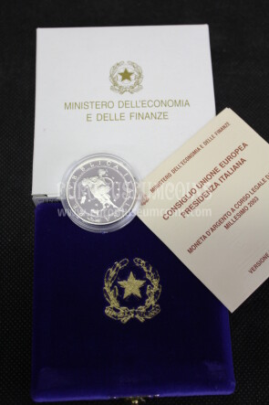 2003 Italia 10 Euro PROOF PRESIDENZA EUROPEA in argento con cofanetto