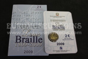 2009 Braille 2 euro commemorativo Italia in folder