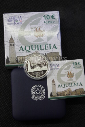 2010 Italia 10 Euro PROOF AQUILEIA in argento con cofanetto