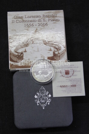 2006 Vaticano 10 Euro proof Colonnato Bernini in argento con cofanetto