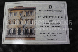 1993 Italia 5000 Lire FDC Università di Pisa in argento in folder