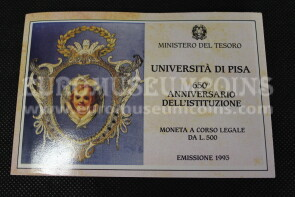 1993 Italia 500 Lire FDC Università di Pisa in argento in folder