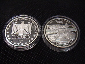 2002 Germania Metropolitana 10 Euro Proof in argento zecca D