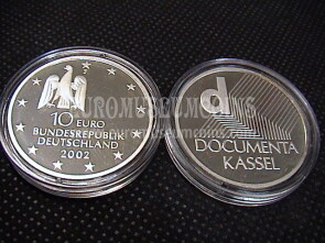 2002 Germania Documenta Kassel 10 Euro Proof in argento zecca J