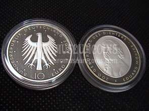 2004 Germania Morike 10 Euro Proof in argento